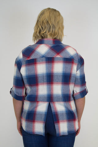 Blue + Red Plaid Top - Plus Size