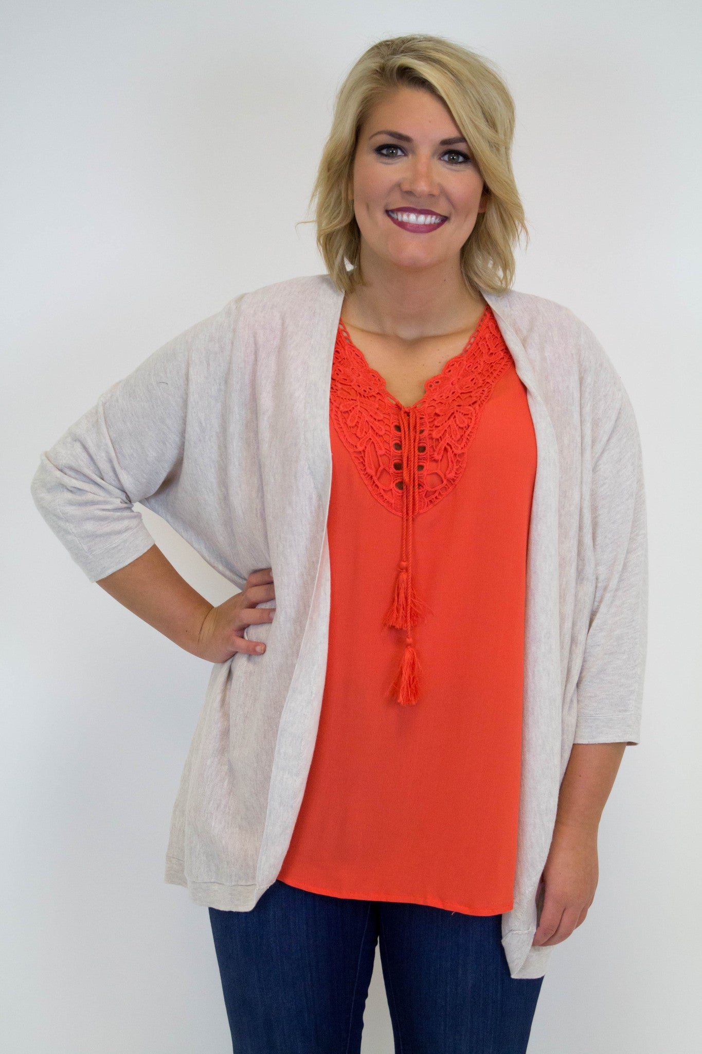 Oatmeal Knit Cardigan - Plus Size