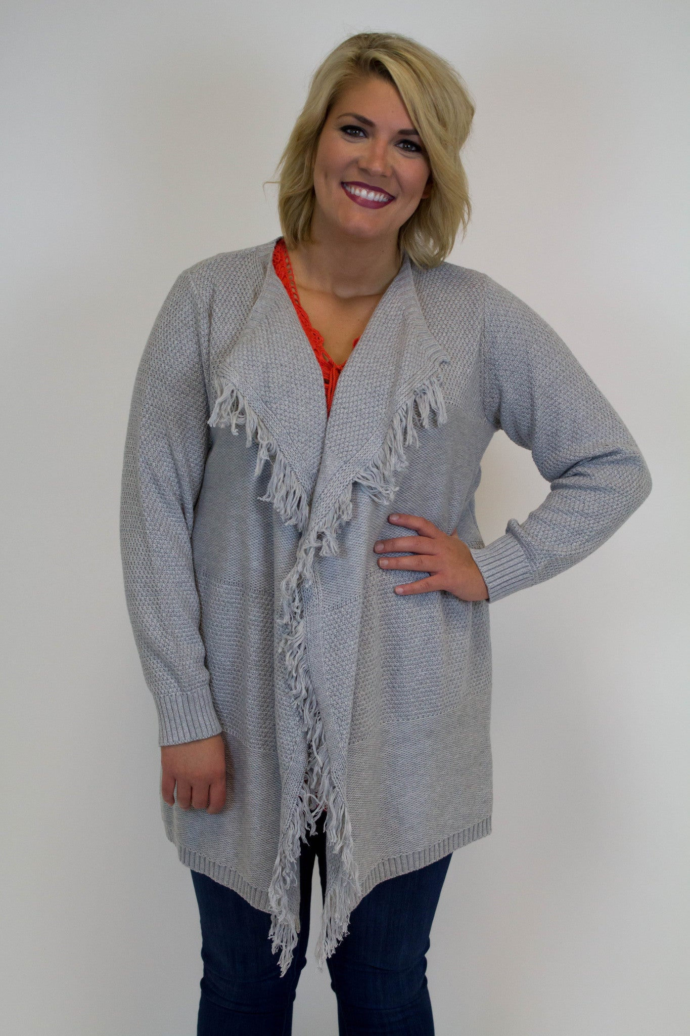 Grey Knit Fringe Cardigan - Plus Size
