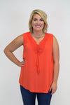 Orange Lace Detail Tank - Plus Size - Luna Boutique