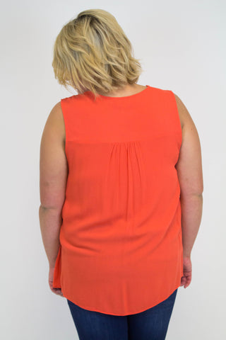 Orange Lace Detail Tank - Plus Size