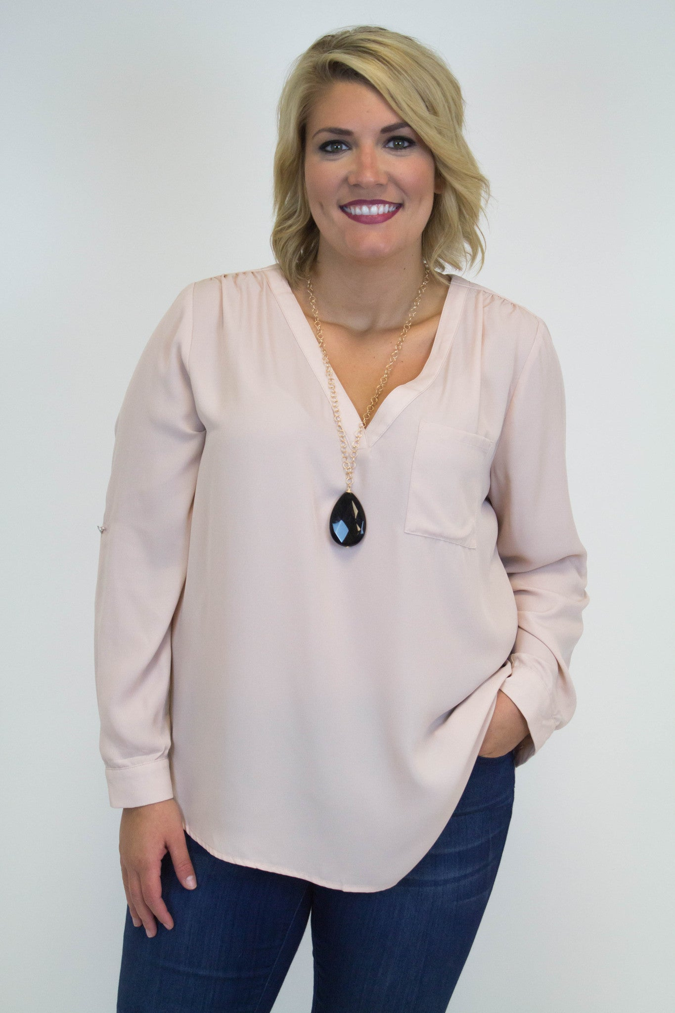 Peach V-Neck Blouse - Plus Size