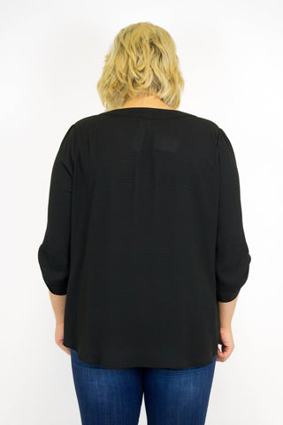 Black V-Neck Woven Top - Plus Size