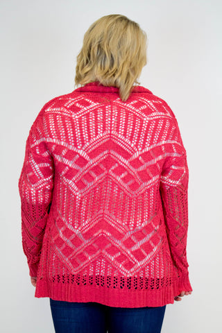 Dark Coral Knit Cardigan - Plus Size