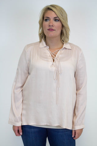 Blush Lace Up Top - Plus Size