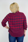Red + Navy Plaid Top - Plus Size