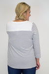 White + Black Stripe Knit Top - Plus Size