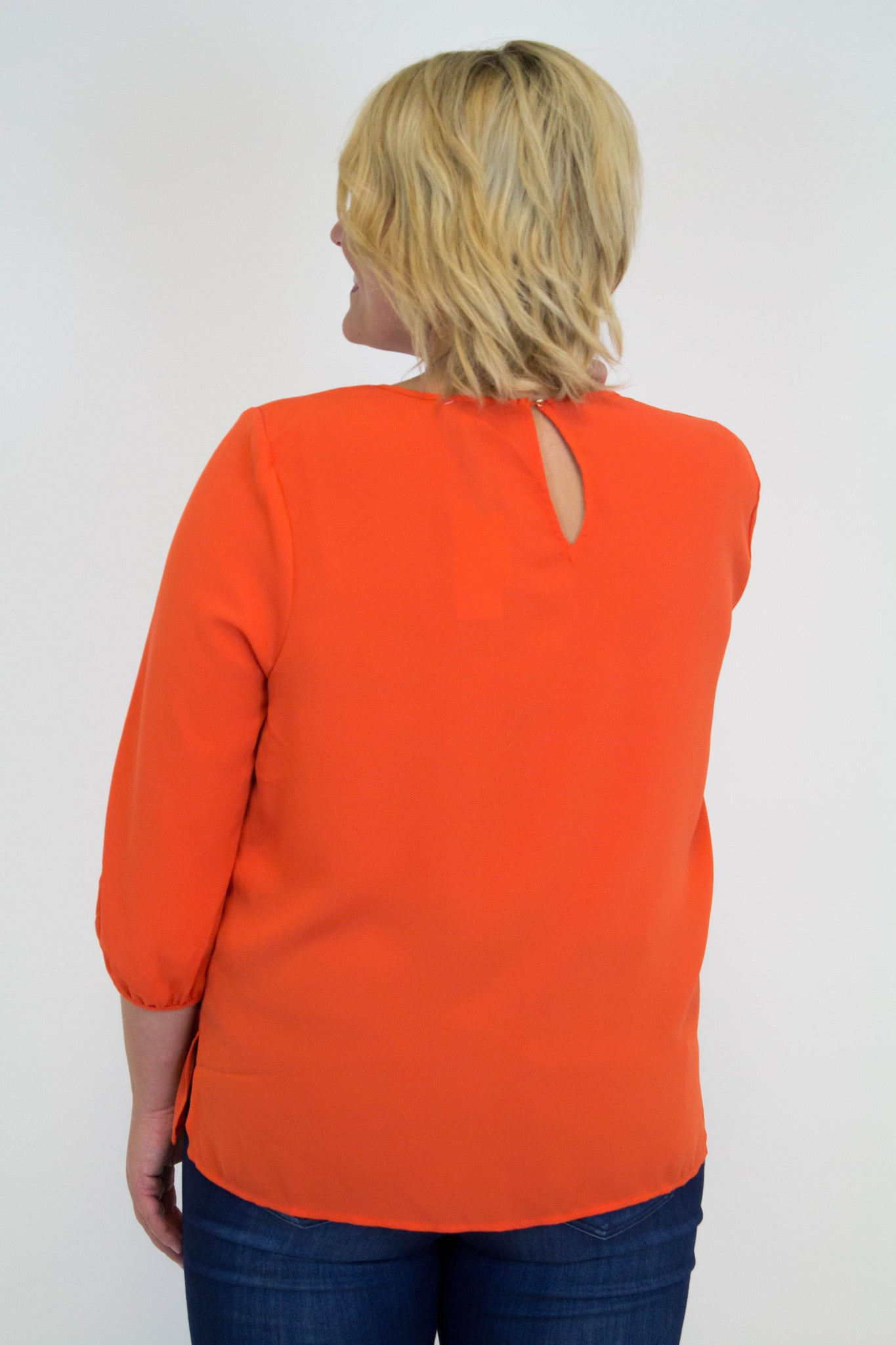 Orange Blouse W/Gold Detail - Plus Size