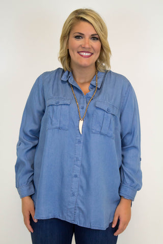 Button Up Denim Top - Plus Size