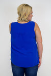 Royal Blue Lace Tank Top - Plus Size - Luna Boutique