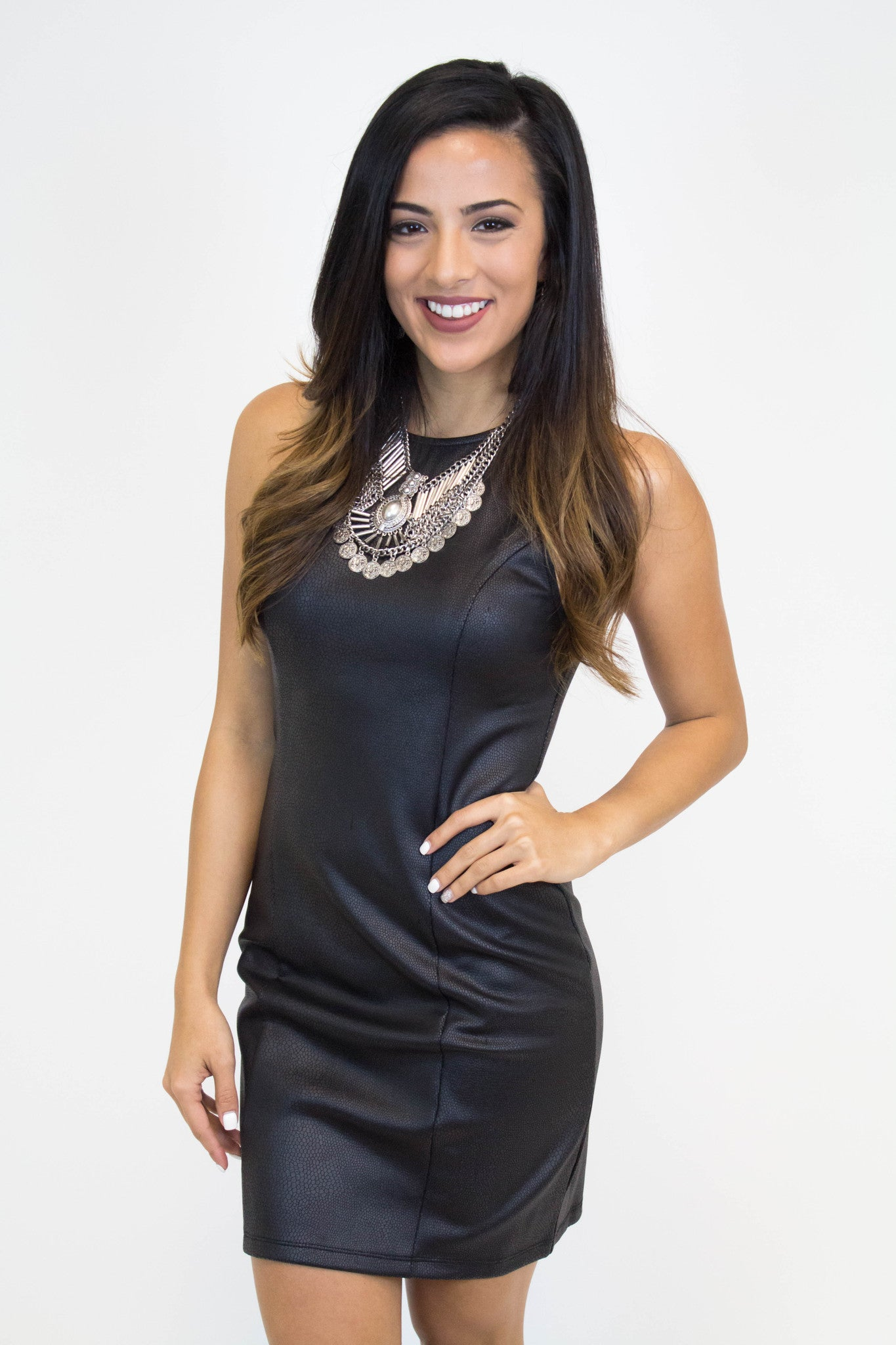 Black Detailed Fitted Dress
