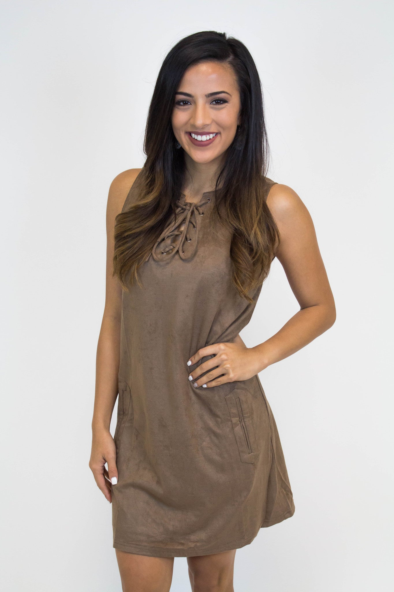 Brown Suede Lace Up Dress