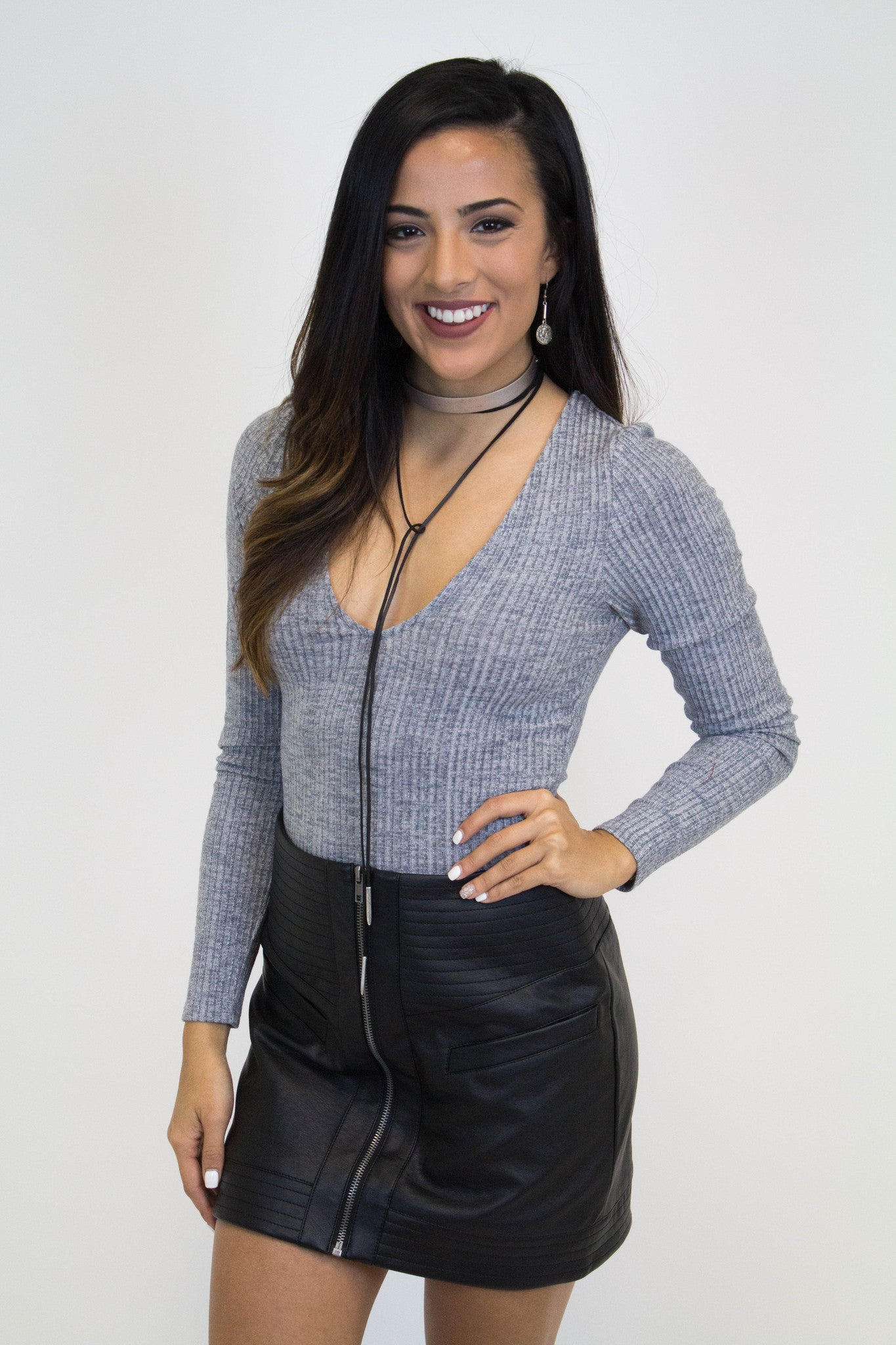 Grey V-Neck Bodysuit