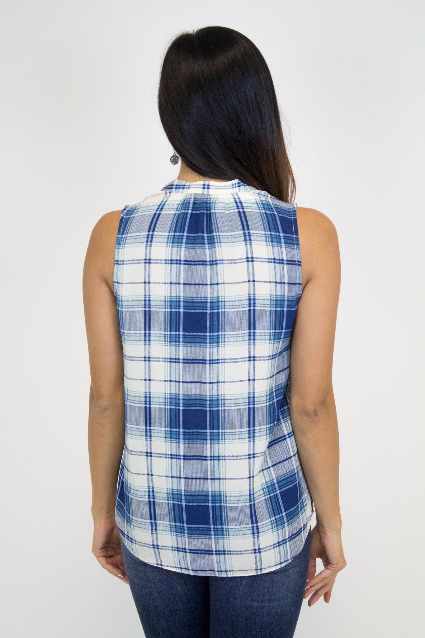 Blue + Ivory Plaid Top
