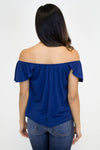 Navy Off Shoulder Ruffle Top