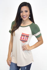 Olive Cactus Pocket Top