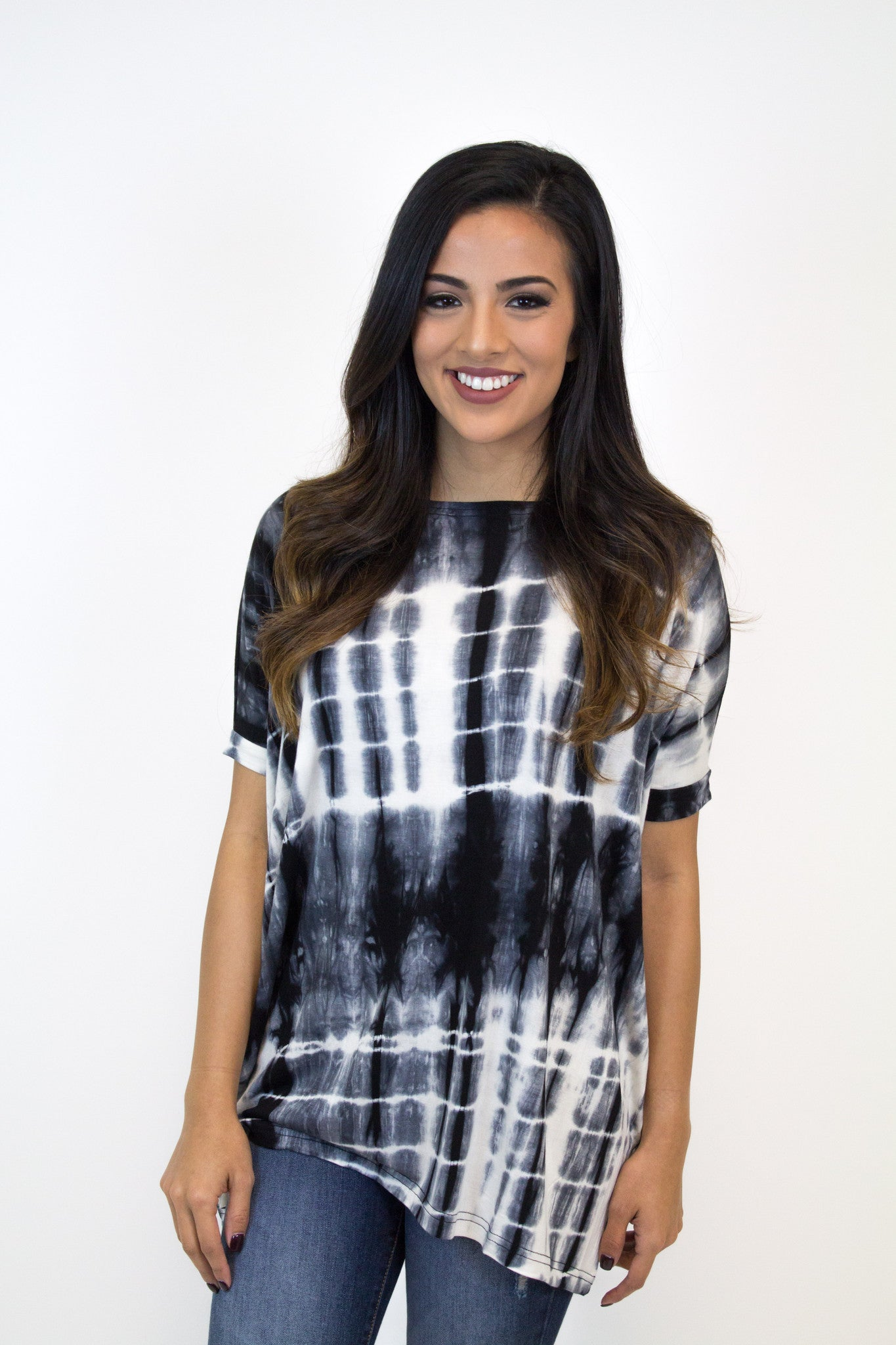 Black Tie Dye Short Sleeve Piko Top