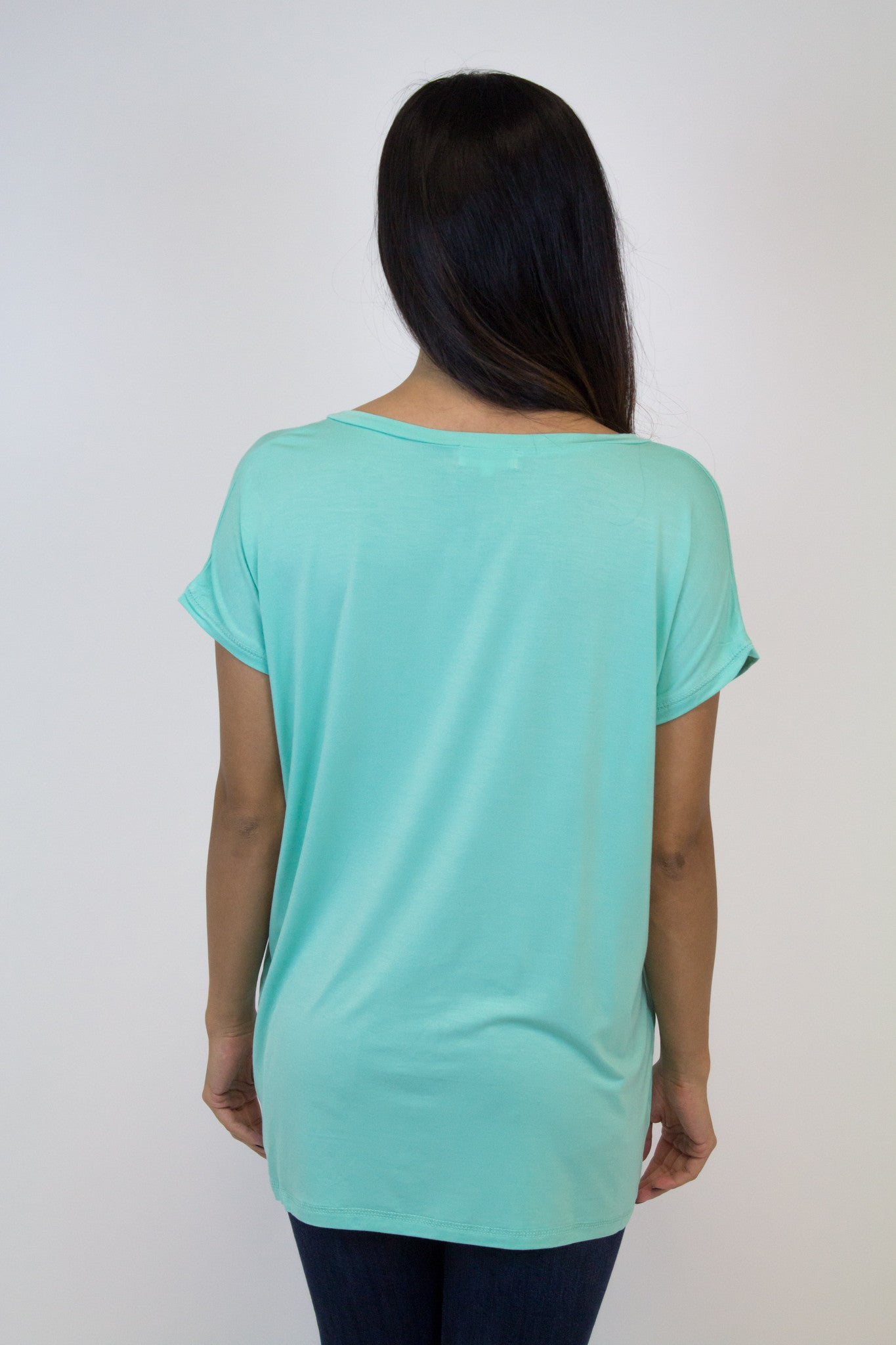 Light Green Wide Sleeve V-Neck Piko