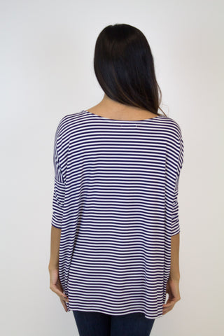 Dark Purple 3/4 Sleeve Stripe Piko