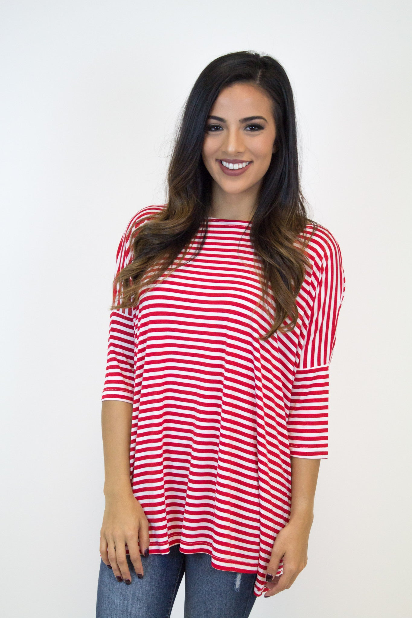 Red 3/4 Sleeve Stripe Piko Top
