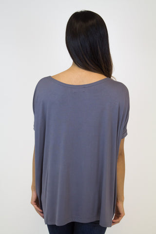 Charcoal Grey Short Sleeve Piko Top