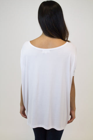 White Short Sleeve Piko Top