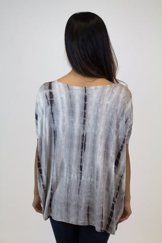 Grey Tye Dye Short Sleeve Piko Top