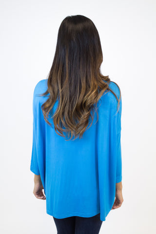 Dazzling Blue 3/4 Sleeve Piko Top