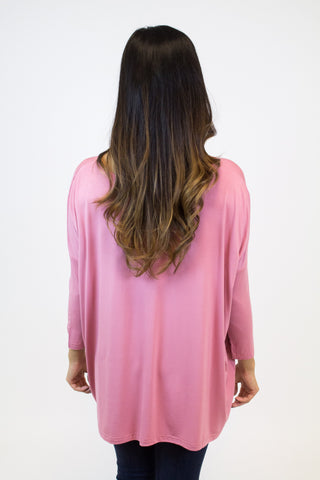 Dusty Rose 3/4 Sleeve Piko Top