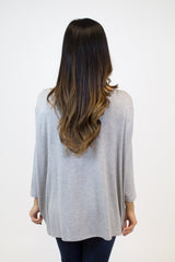 Heather Grey 3/4 Sleeve Piko