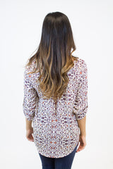 Ivory/Burgundy Floral Blouse