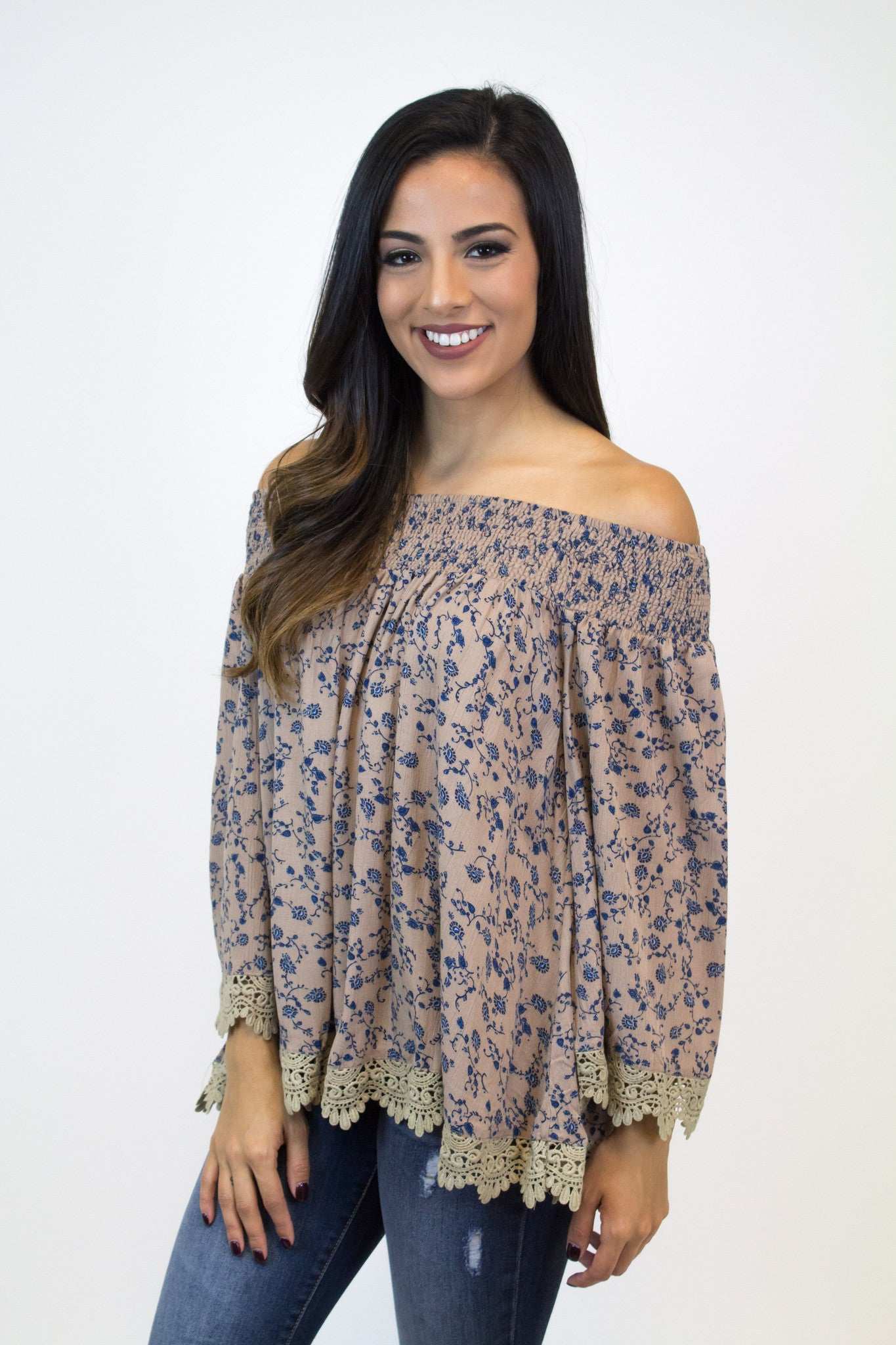 Taupe Floral Off Shoulder Top