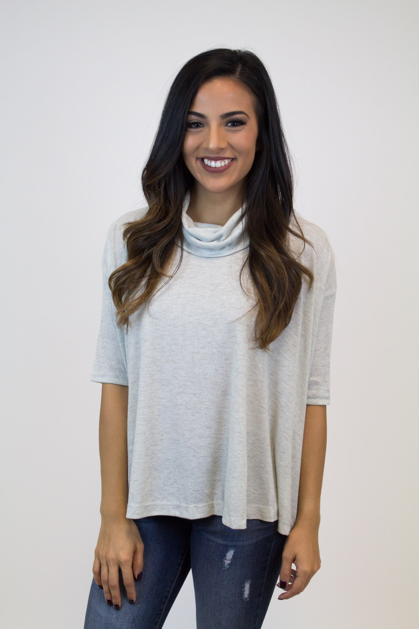 Light Grey Turtle Neck Top