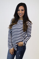 White + Black Stripe Knit Top
