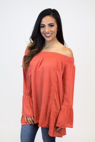 Soft Orange Off-Shoulder Top