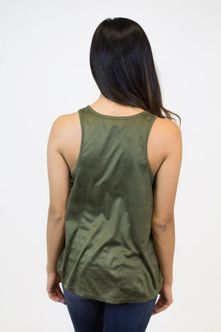 Olive Cut Out Trim Tank Top