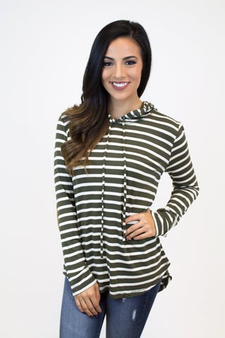 Olive Stripe Elbow Patch  Hoodie