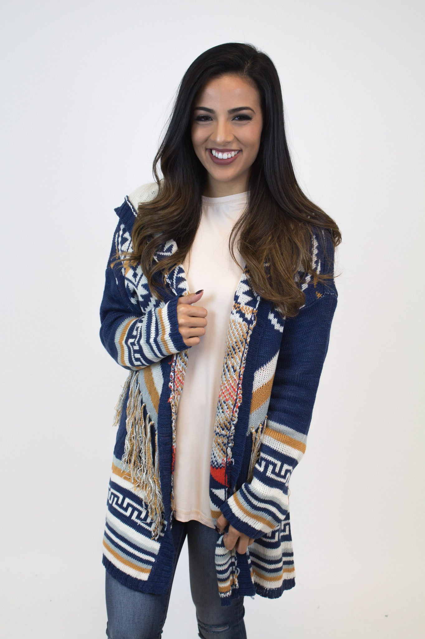 Navy Multi Color Fringe Cardigan