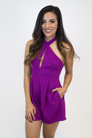 Bright Purple Crossover Romper