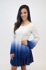Navy Ombre Woven Dress