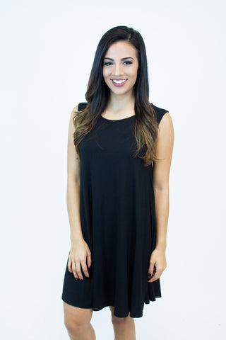 Black Sleeveless Piko Dress