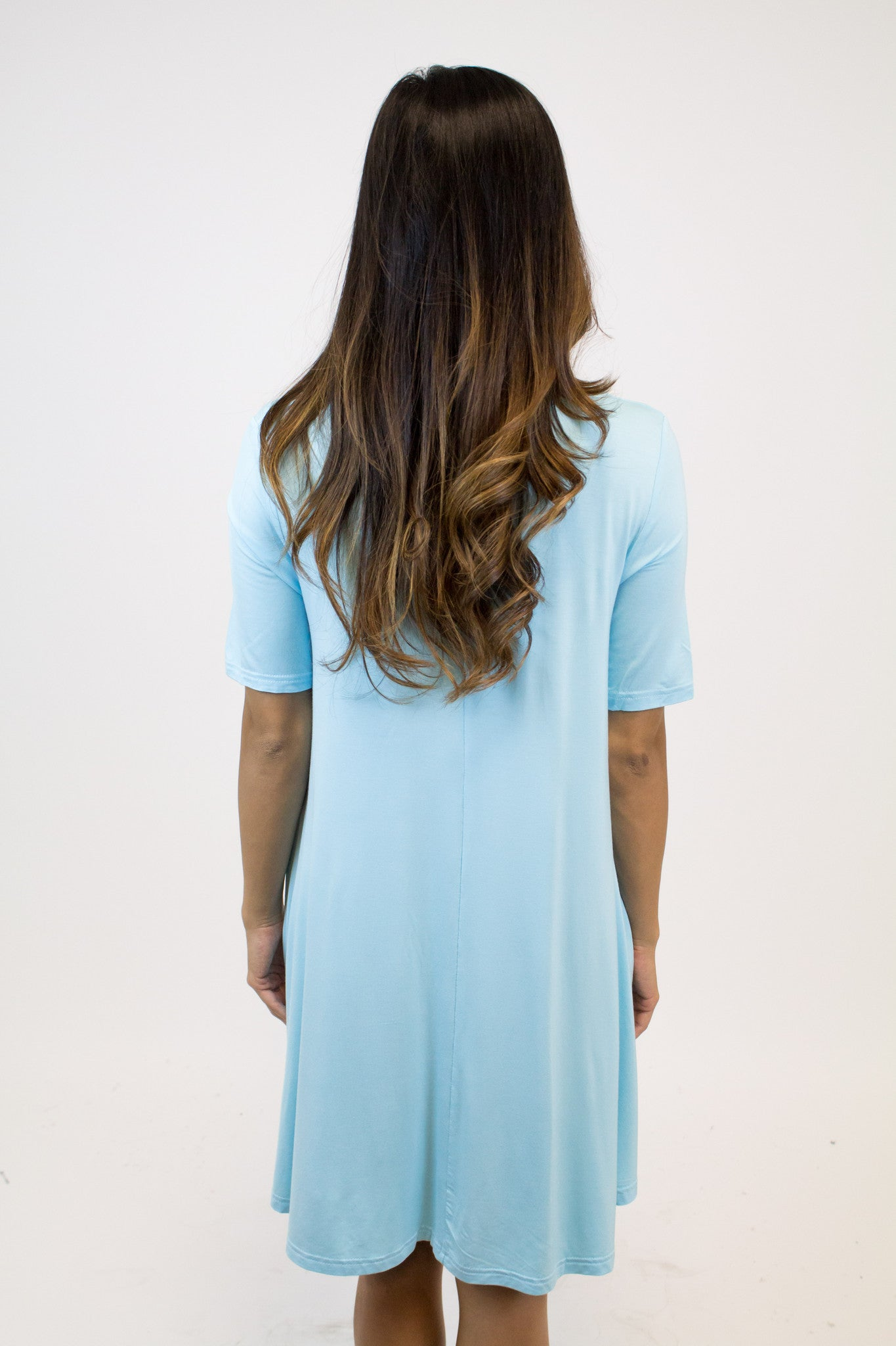 Sky Blue Short Slv. V-Neck Dress