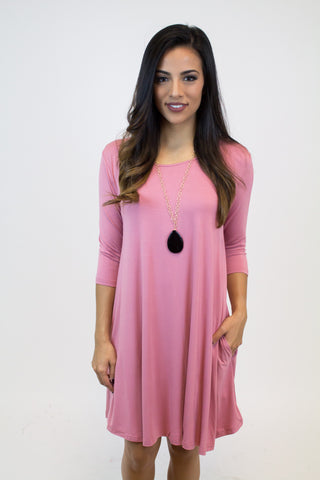 Dust Rose Piko Dress W/ Pockets
