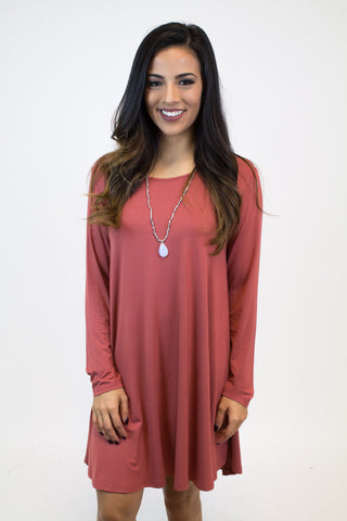 Marsala Trapeze Piko Dress