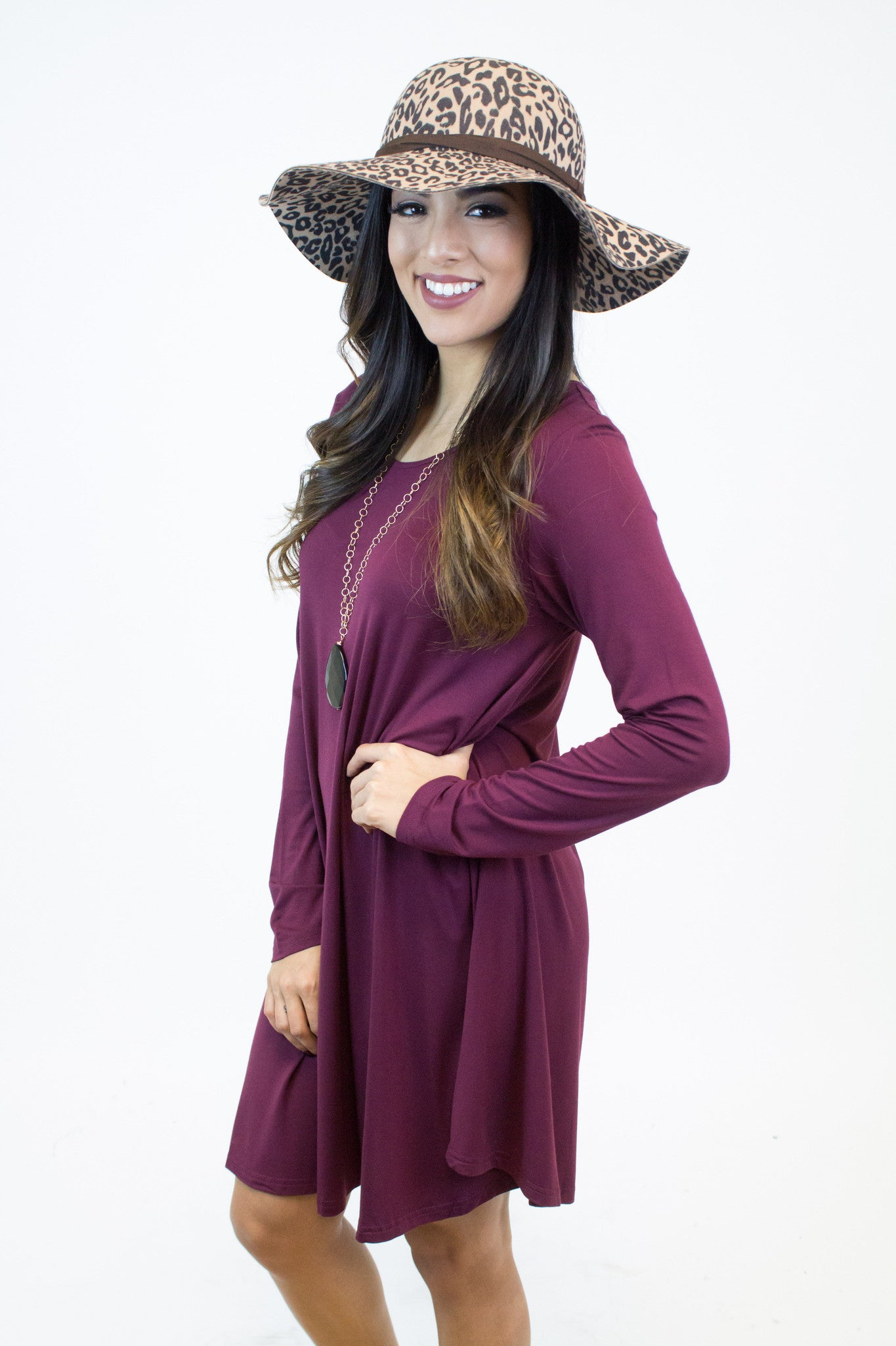 Burgundy Piko Dress
