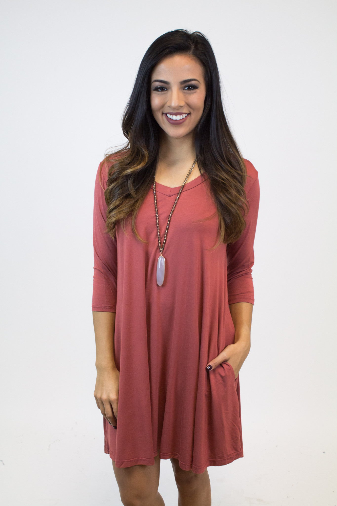 Marsala Piko V-Neck Dress W/Pockets