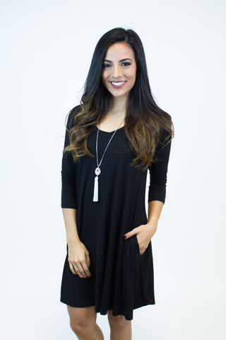 Black Piko V-Neck Dress W/Pockets