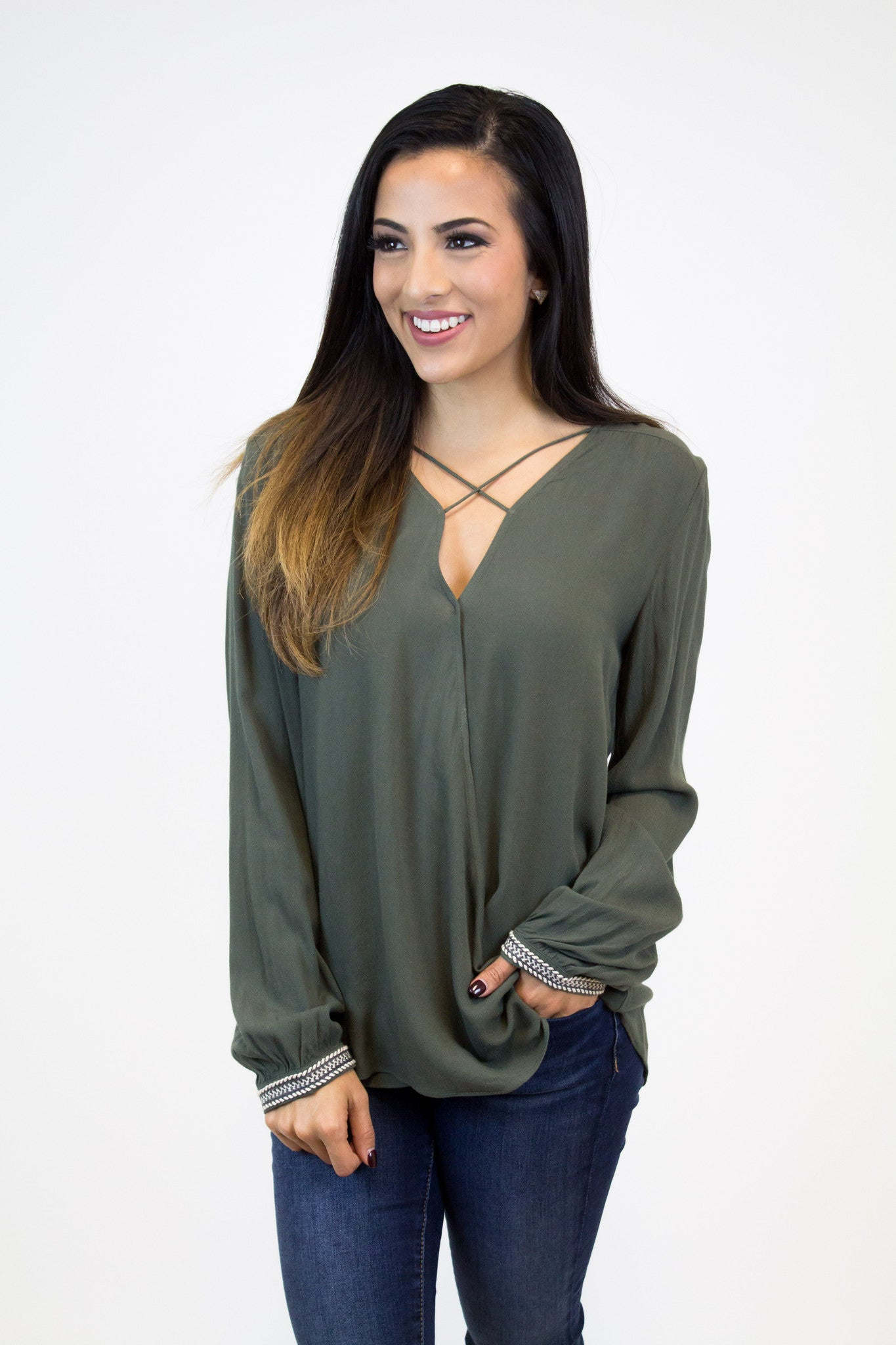 Olive Overlap Long Slv Top