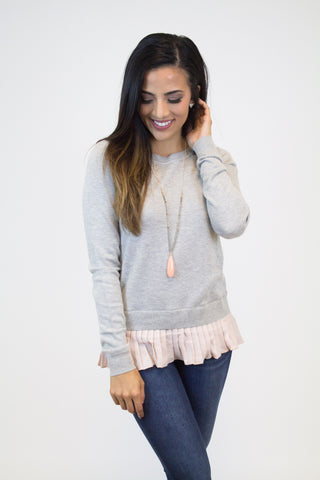 Grey Pleated Knit Sweater