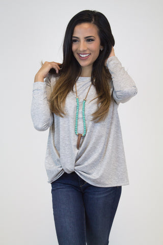 Heather Grey Knot Long Slv. Top